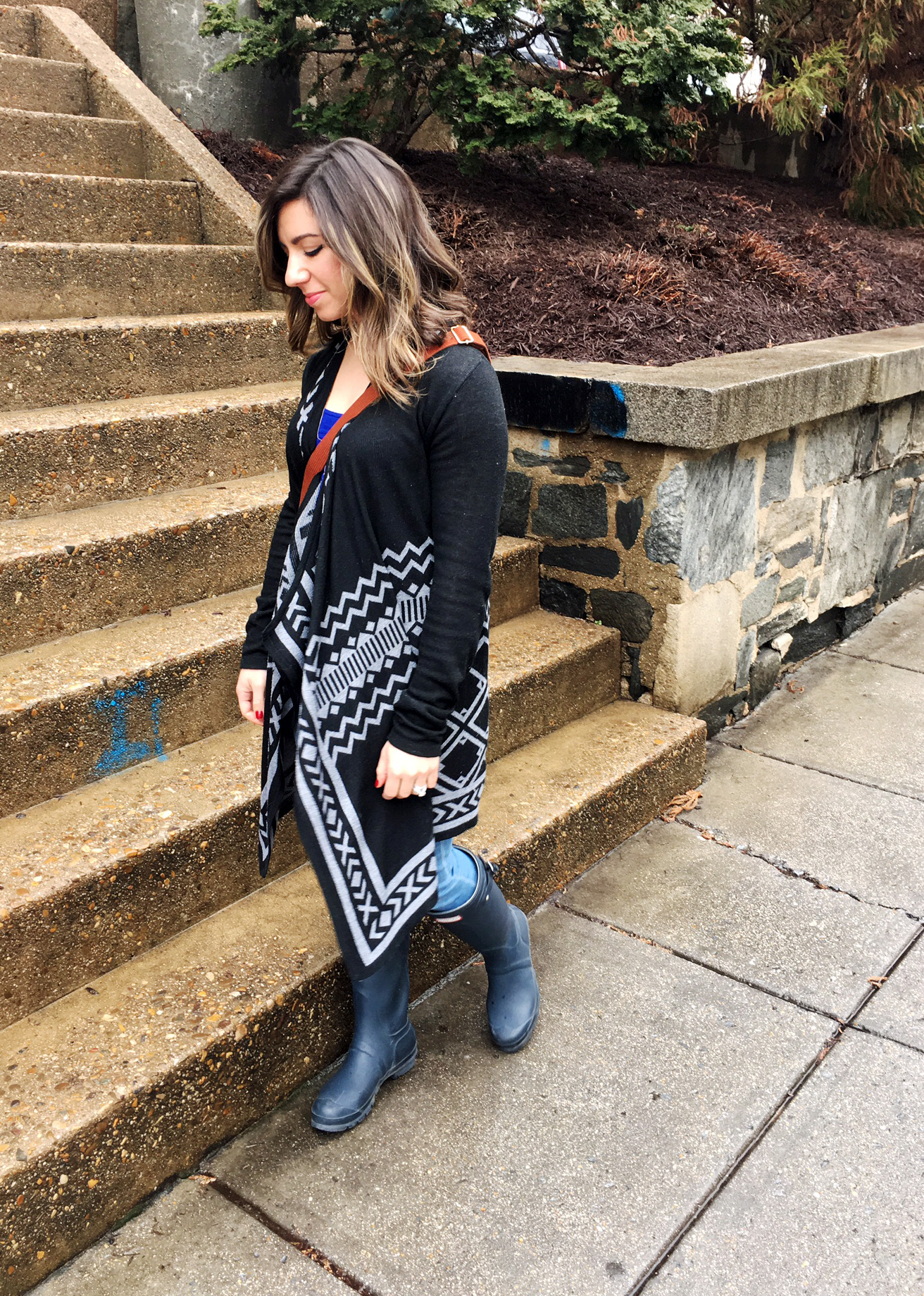 Aztec cardigan and hunter boots