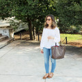 glass of glam - white peasant top