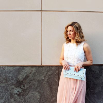 Rosé – Pleated Midi and Block Heels