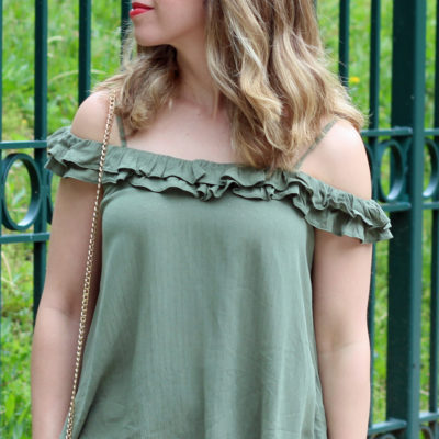 Green Juice: Off the Shoulder Ruffle Top