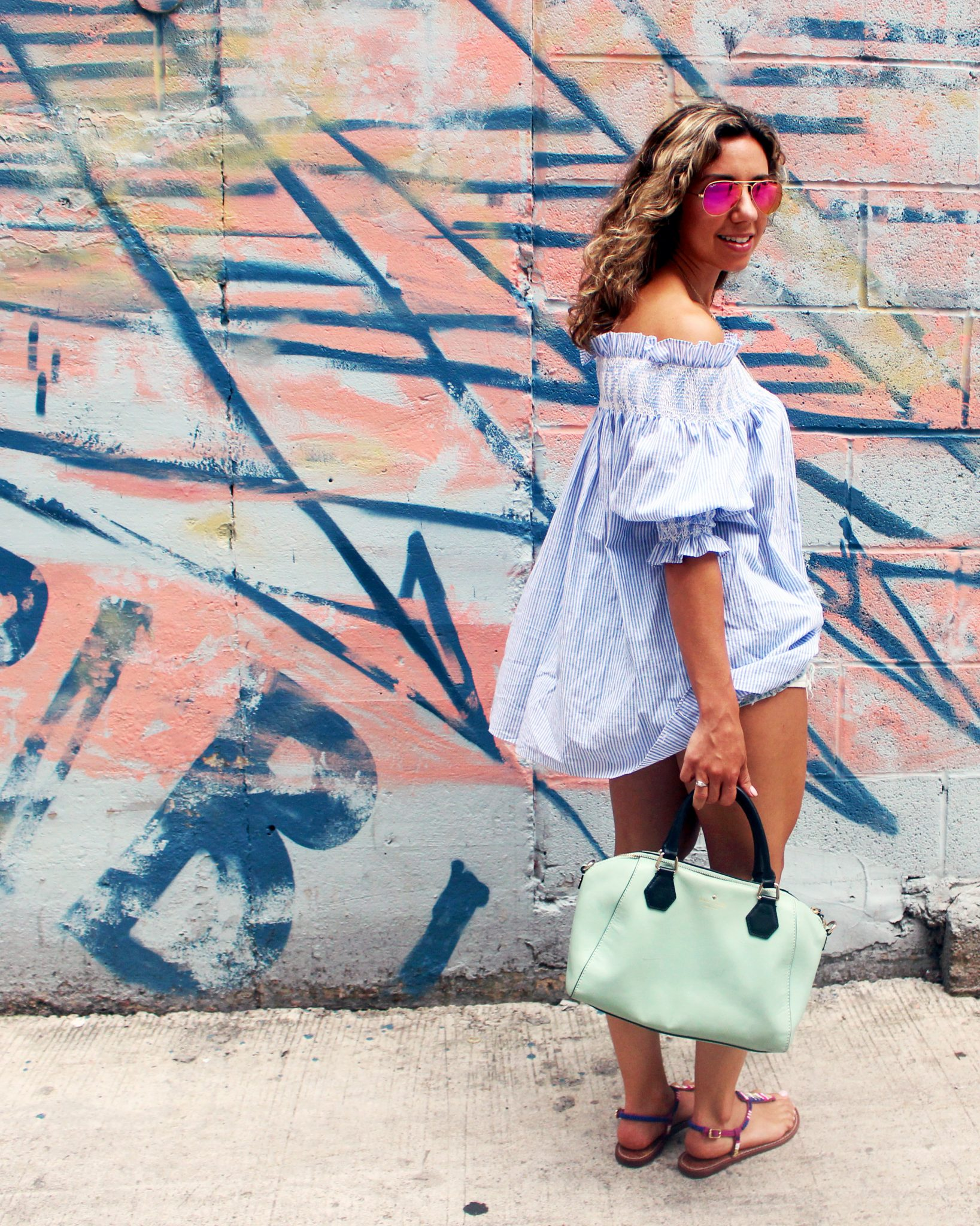 Distressed Denim and Blue OTS Tunic | Glass of Glam
