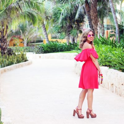 Tequila Sunrise: Red Off the Shoulder Dress