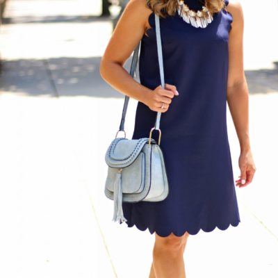 Americano: A Navy Blue Scalloped Shift Dress