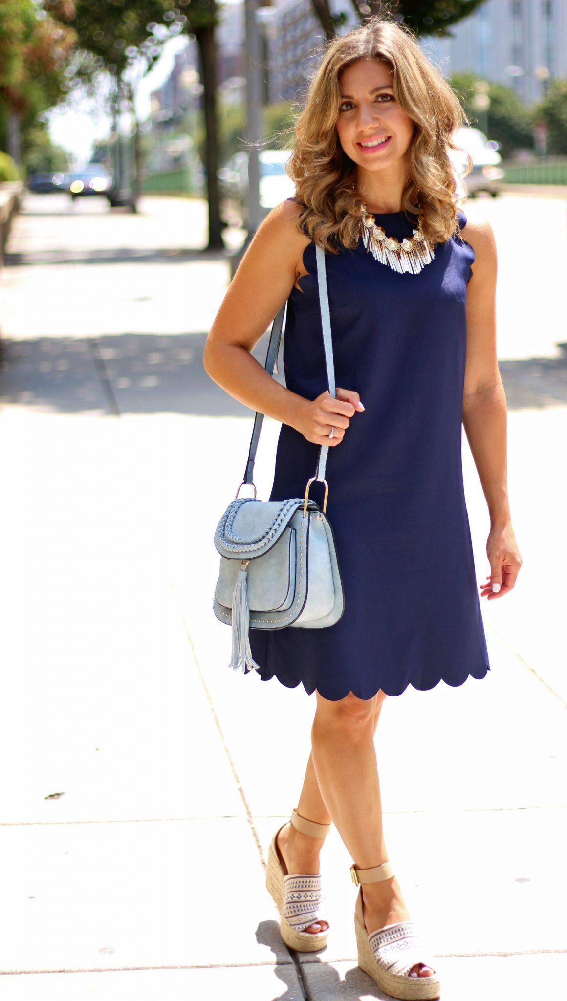 Navy Scalloped Shift Dress | Glass of Glam