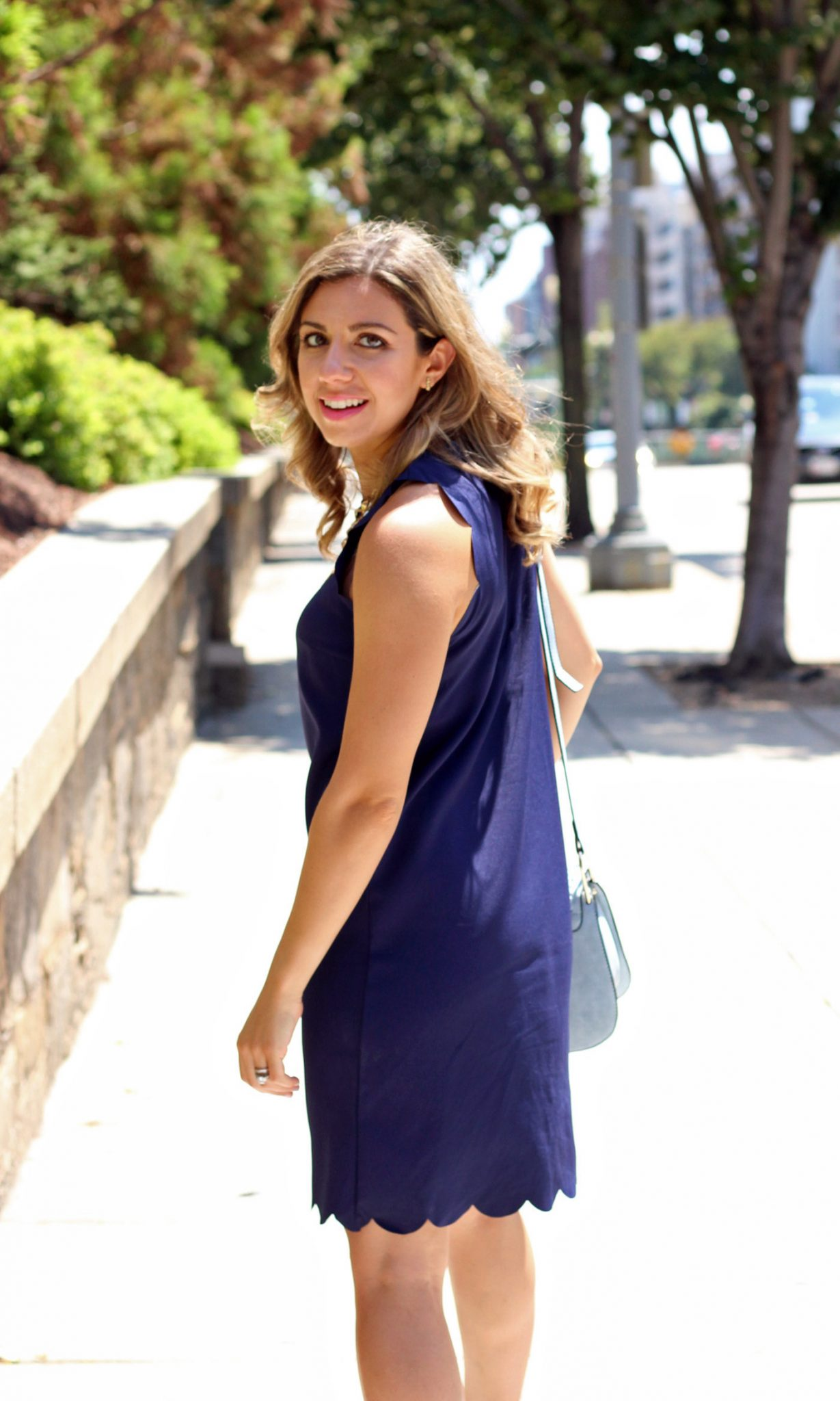 Navy Scalloped Shift Dress | Glass of Glam