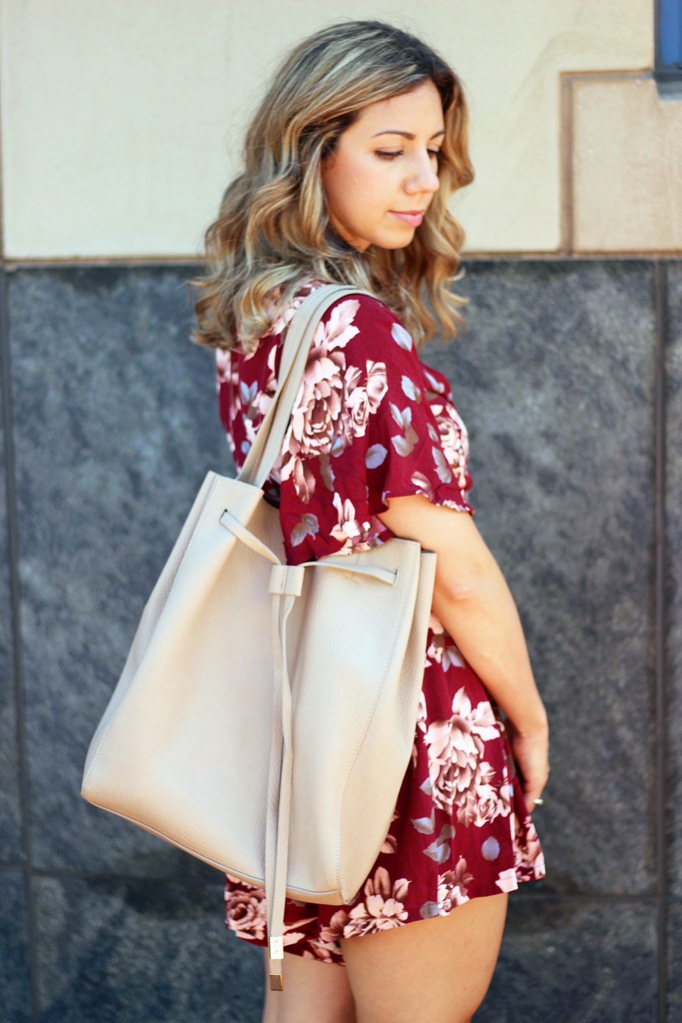 Burgundy Floral Romper & Tips for Surrviving the Heat | Glass of Glam
