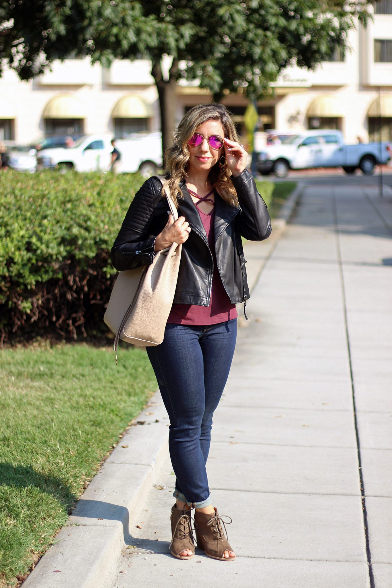 Burgundy Cross Front Tee via Glassofglam.com