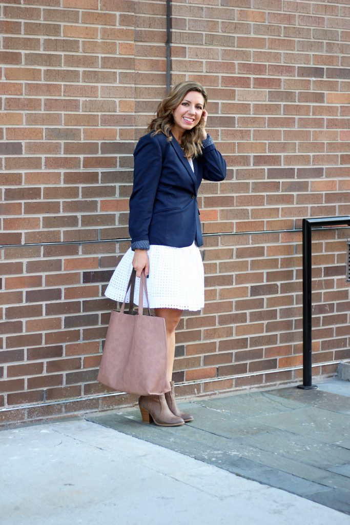 little white dress re-styled for fall