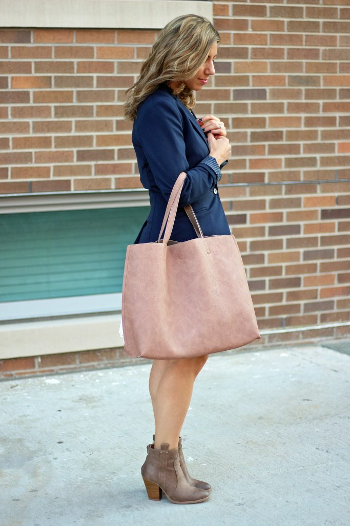 little white dress re-styled for fall, JustFab reversible tote