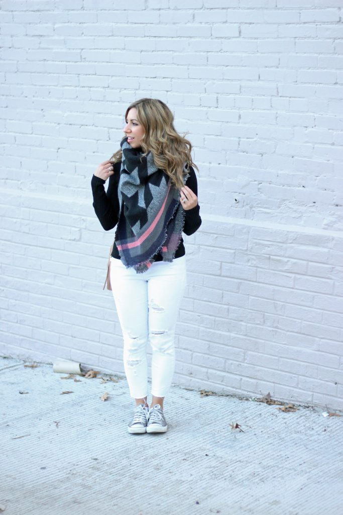 Lifestyle Blogger Glass of Glam wearing Express tee, RoseGal scarf, Old Navy white distressed denim, Gucci Soho Disco bag, and Converse sneakers