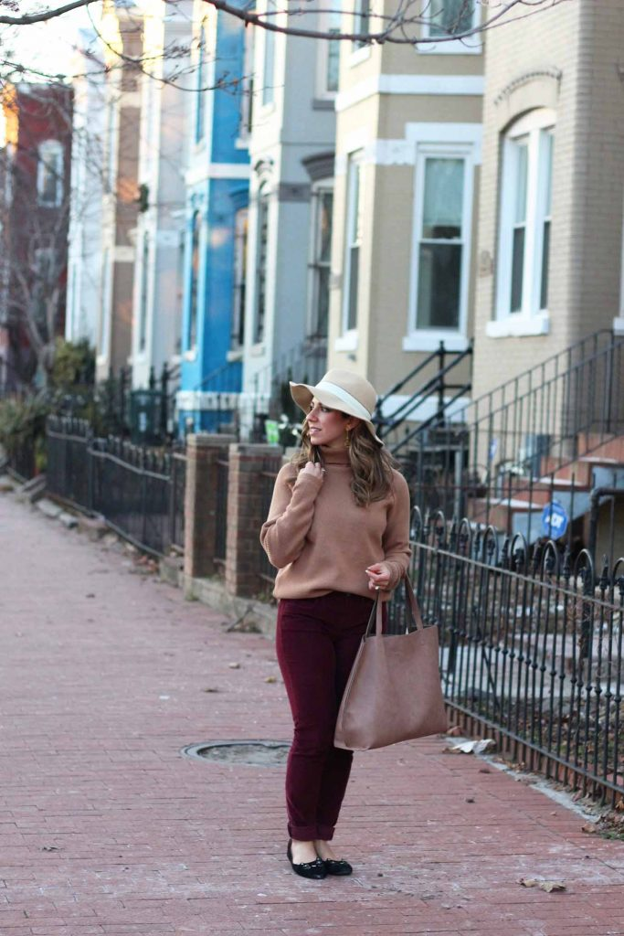 Lifestyle Blogger Glass of Glam wearing StyleWe camel sweater, Madewell cords, Nordstrom hat, JustFab tote and SheIn kitty flats