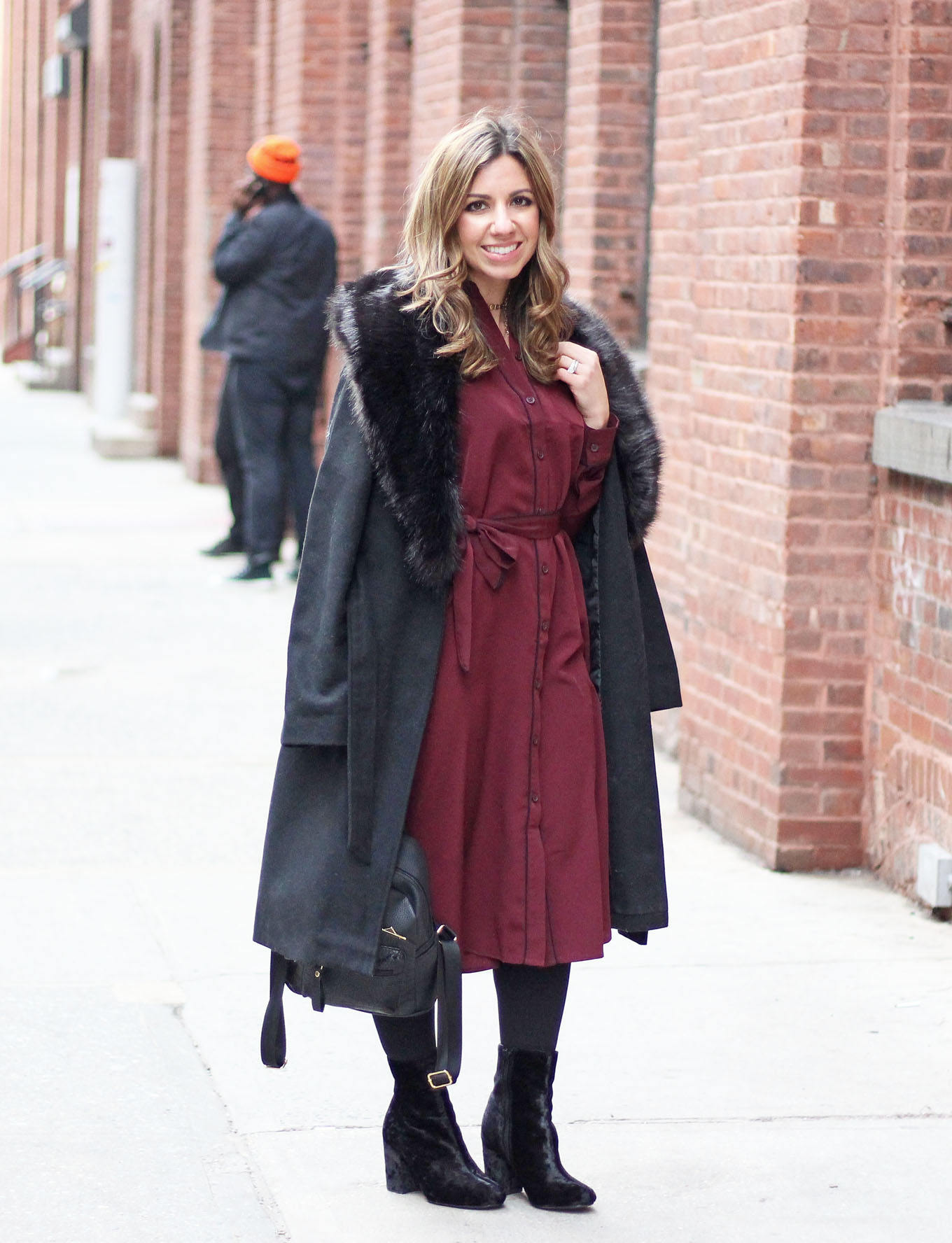 Lifestyle Blogger Roxane Birnbaum of Glass of Glam wearing a Who What Wear for Target Pajama Style Dress, Boohoo faux fur coat, and Justfab Booties