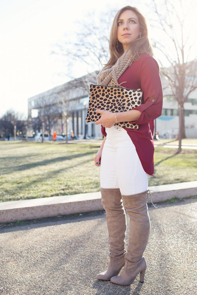 Lifestyle Blogger Roxanne Birnbaum of Glass of Glam in a Lush Clothing top, Old Navy denim, Steve Madden over the knee boots, Nordstrom scarf, and Clare Vivier leopard clutch