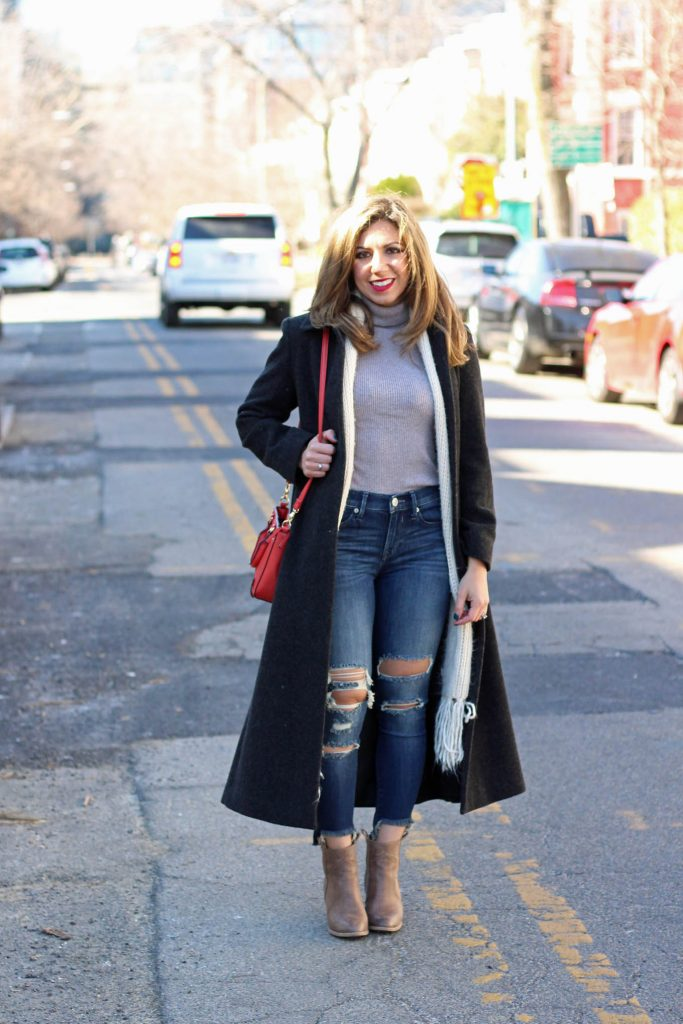 Lifestyle blogger Roxanne Birnbaum of Glass of Glam in a long thrifted coat, express denim and justfab bag, and hosting the On Monday's We Link-Up linking party