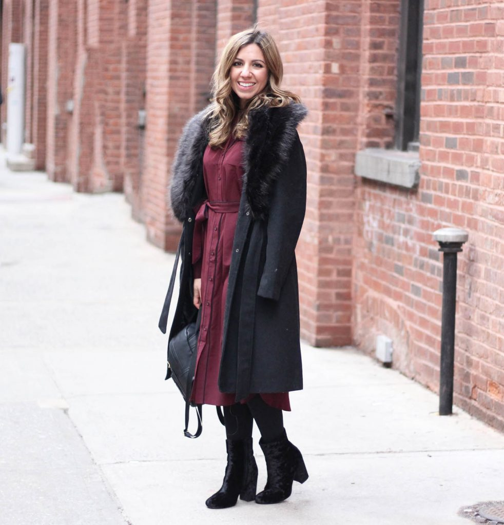 Lifestyle Blogger Roxane Birnbaum of Glass of Glam wearing a Who What Wear for Target Pajama Style Dress, Boohoo faux fur coat, and Justfab Booties & co-hosting Project Sister Act