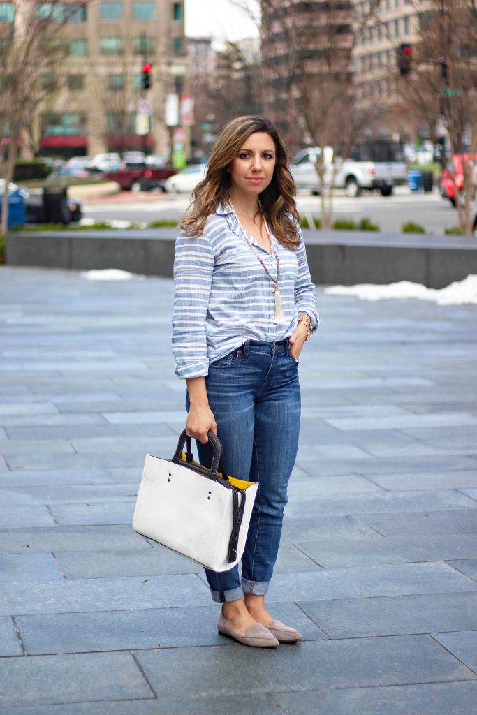 Lifestyle Blogger Roxanne of Glass of Glam wearing a J.Crew top, Stella and Dot tassel necklace, Madewell denim, and a Rosegal handbag