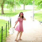 Lifestyle Blogger Roxanne of Glass of Glam in a Pink wrap dress from Wild Blue Denim and Jack Rogers Sandals