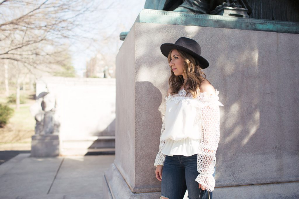 95d34784b12 Lifestyle Blogger Roxanne of Glass of Glam wearing a SheIn lace off the  shoulder top