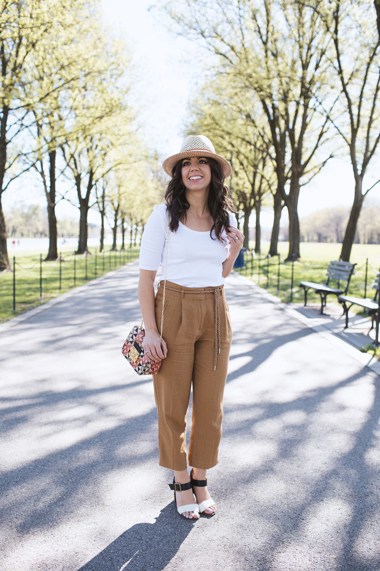 Style Blogger Roxanne of Glass of Glam in Marks & Spencer marigold trousers