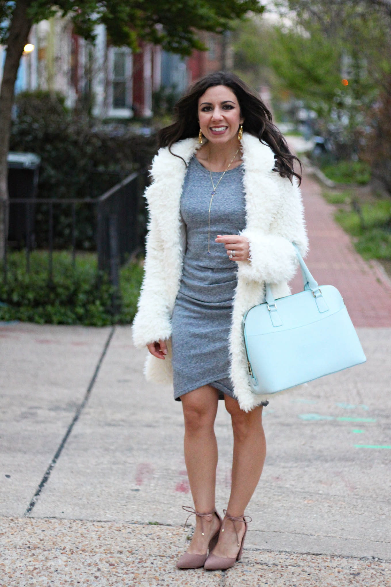 Lifestyle blogger Roxanne of Glass of Glam wearing a Boohoo Bear Coat, Mel Boteri bag, Nordstrom dress, Baublebar star earrings and Steve Madden Shoes