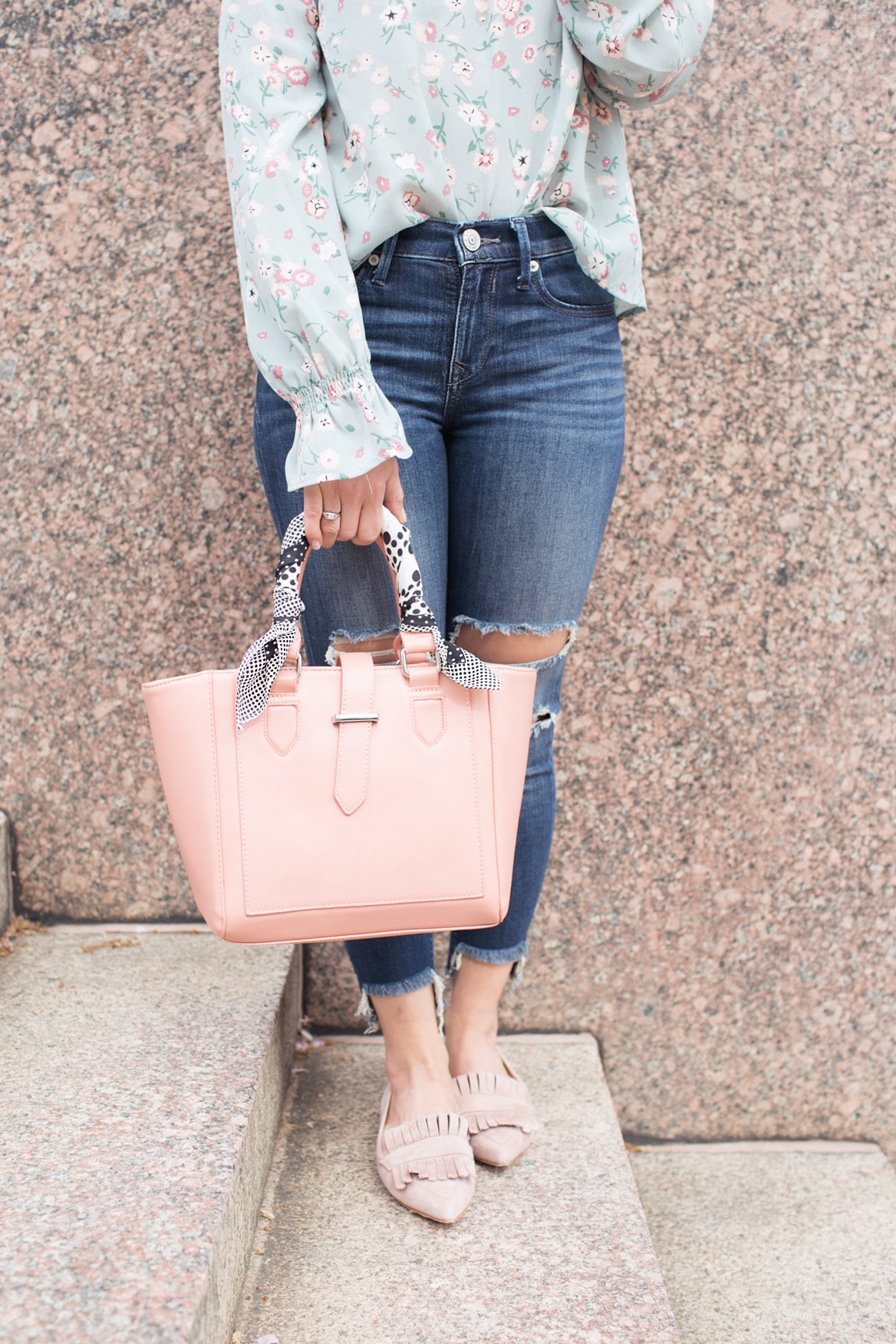 lifestyle blogger Roxanne of Glass of Glam wearing a wild blue denim floral top, express denim, cuore and pelle bag, and a vintage silk scarf