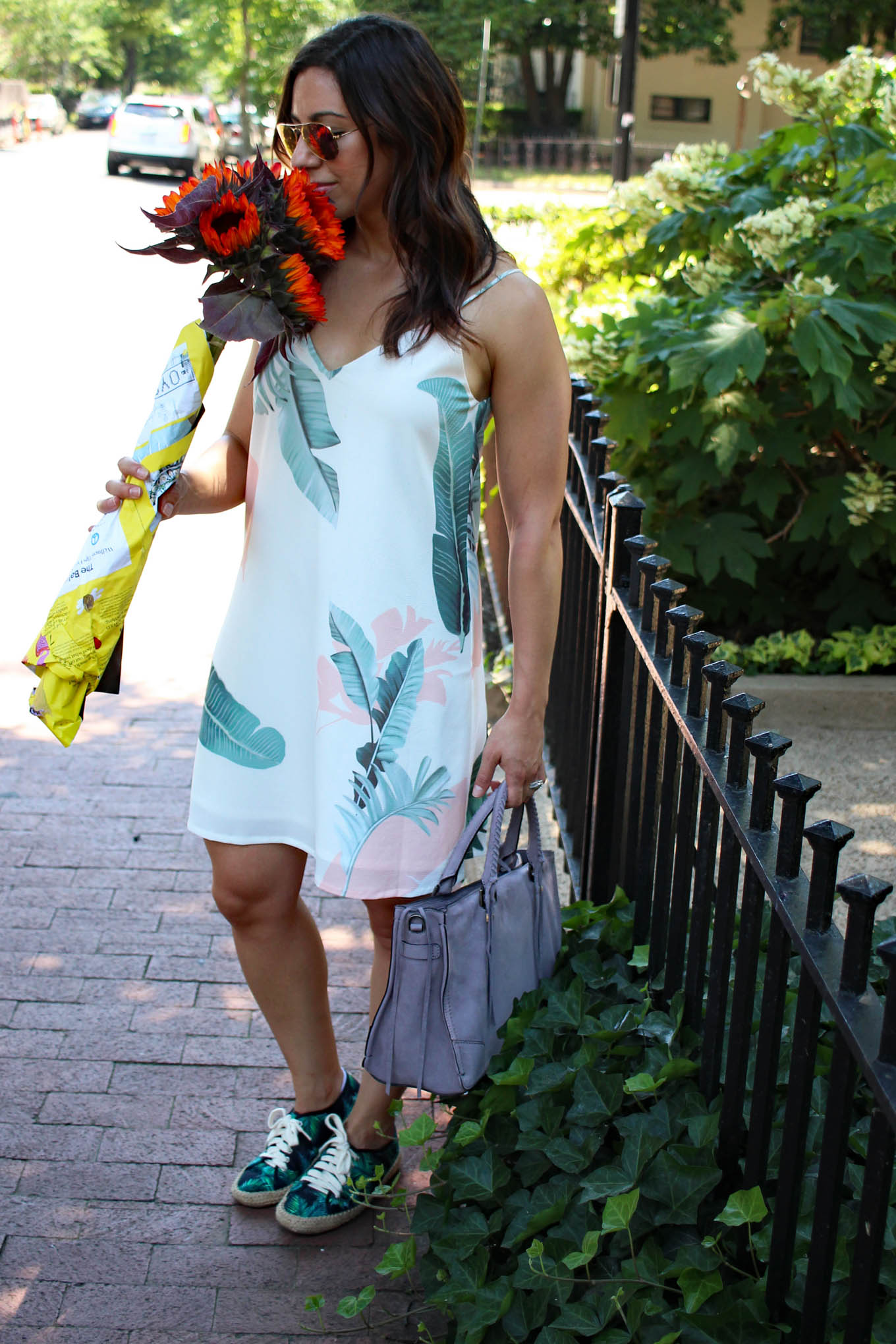 79306f535ae Lifestyle blogger Roxanne of Glass of Glam wearing a shein palm print dress