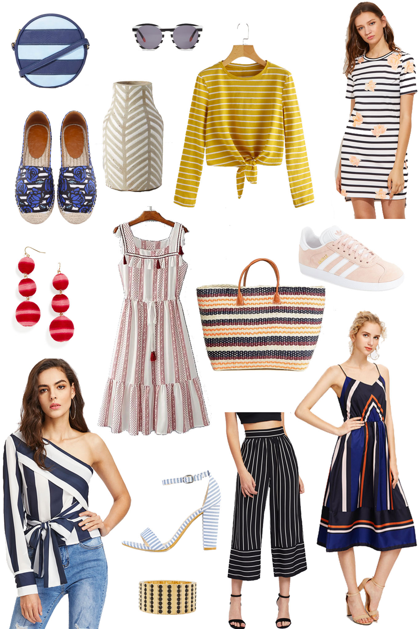 Lifestyle Blogger Roxanne of Glass of Glam's summer stripes shopping collage