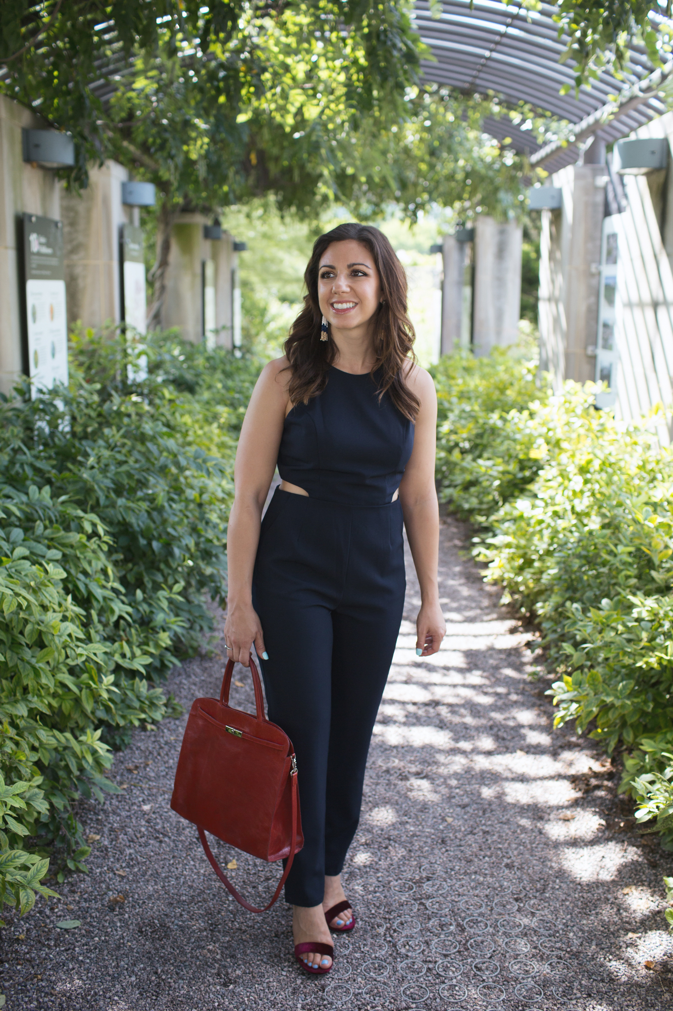 styling a navy jumpsuit and vintage Furla bag from Current Boutique | Ann Taylor | Appropriate Jumpsuits for Work featured by popular Chicago style blogger Glass of Glam