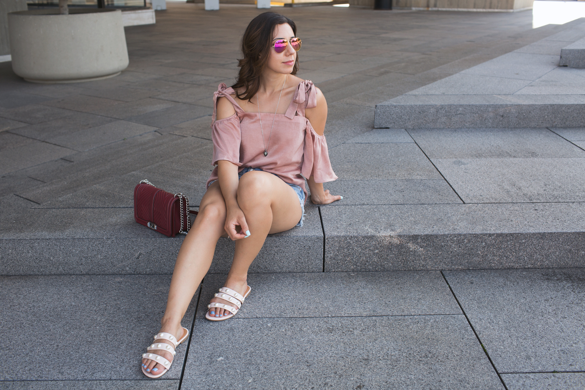 Lifestyle blogger Roxanne of Glass of Glam wearing Moonglow jewelry