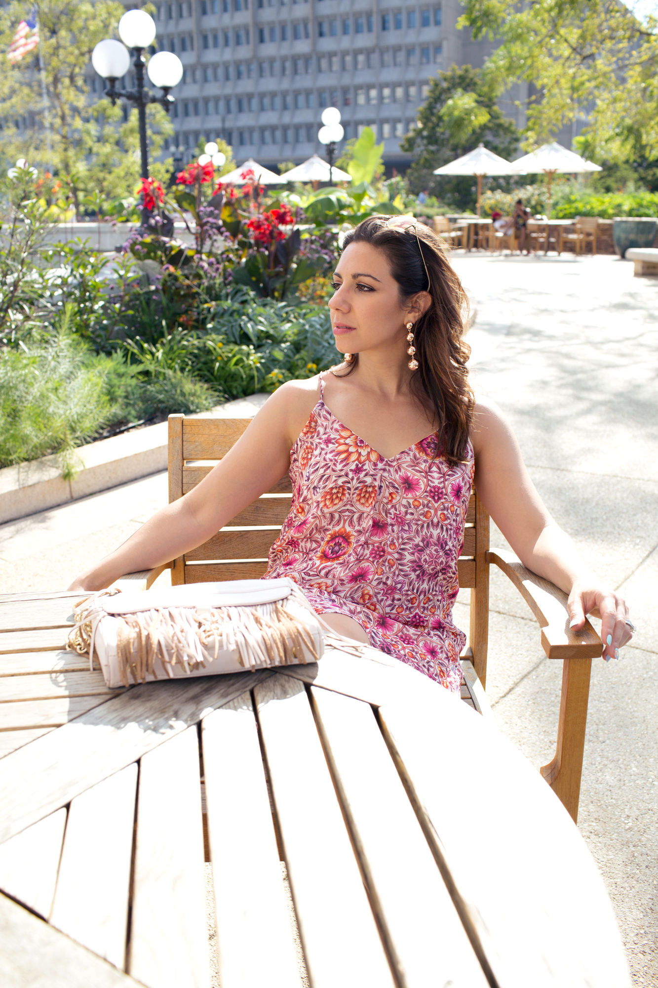 Lifestyle blogger Roxanne of Glass of Glam's lavender brown dress from Undeniable Boutique