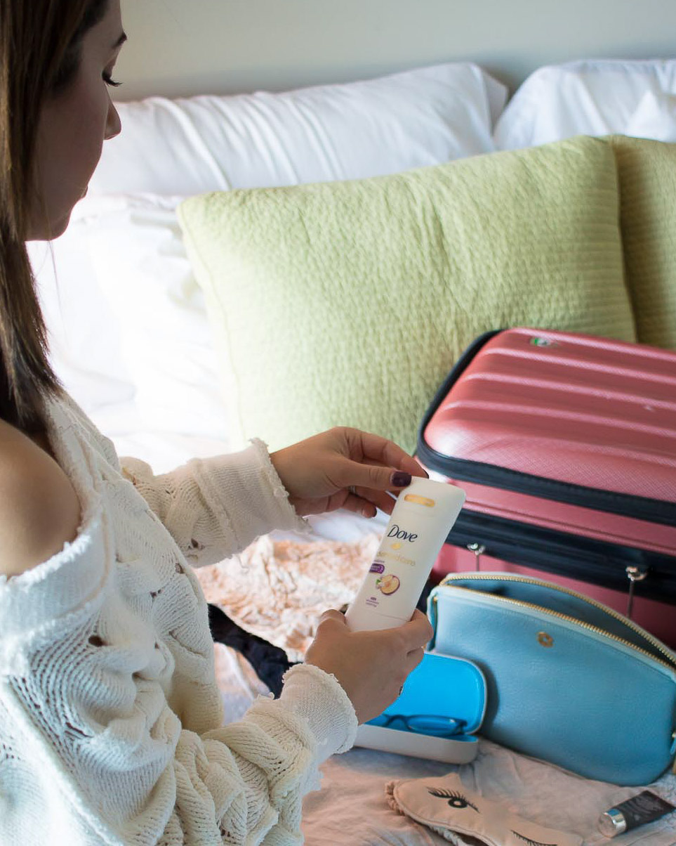 Lifestyle blogger Roxanne of Glass of Glam's tips for traveling comfortably with Dove