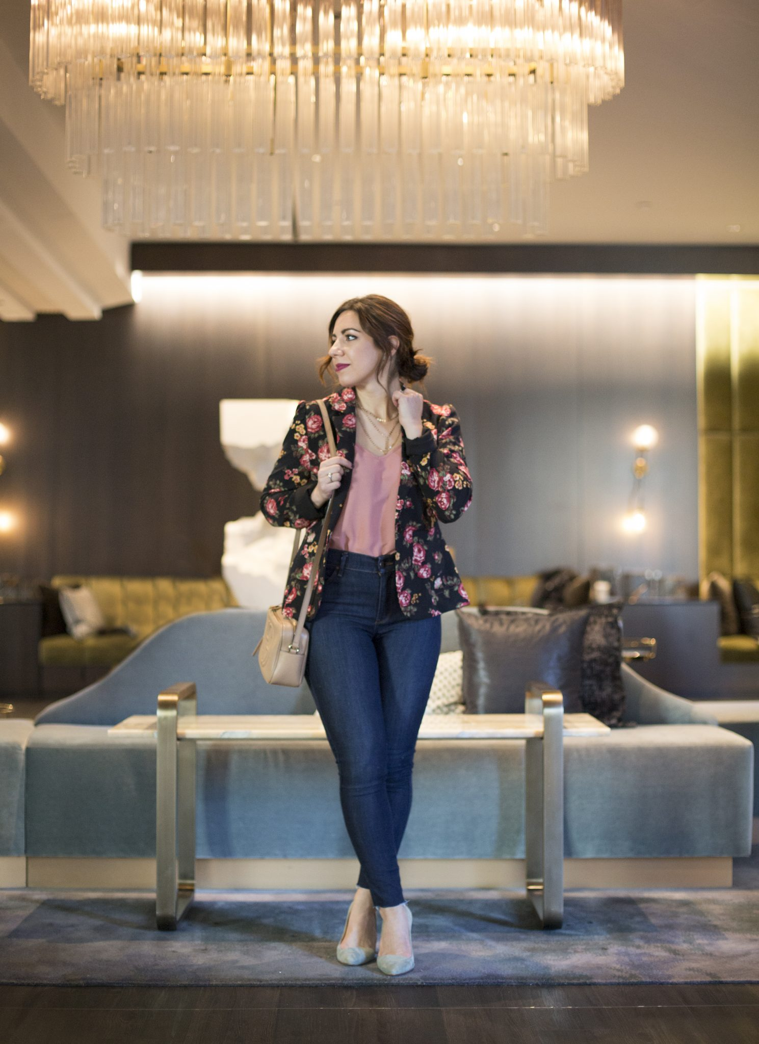 Lifestyle blogger Roxanne of Glass of Glam wearing a Modcloth floral blazer, Mott + Bow denim, Madewell heels, a Gucci Soho Disco bag, and Baublebar necklace