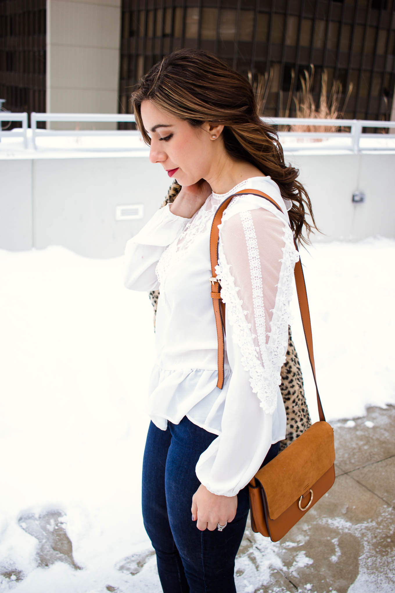Lifestyle blogger Roxanne of Glass of Glam wearing a white lace Shein top, leopard coat, Mott and Bow denim, and red booties. - Affordable Shopbop Sale Picks by popular Chicago style blogger Glass of Glam