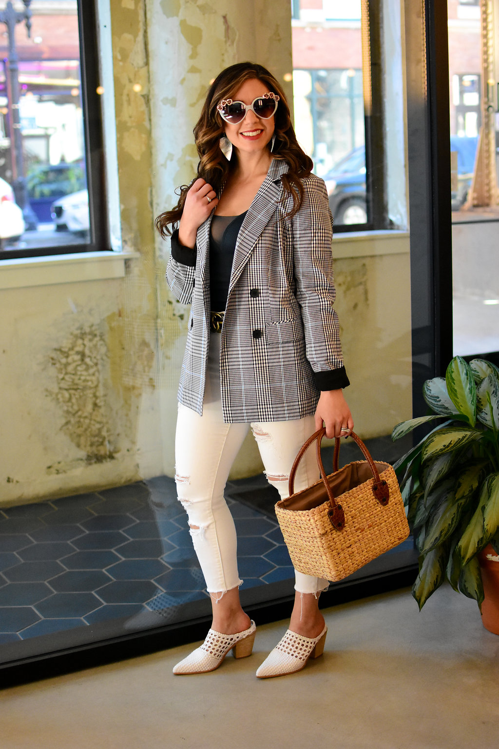 Checked Blazer styled by popular Chicago fashion blogger Glass of Glam