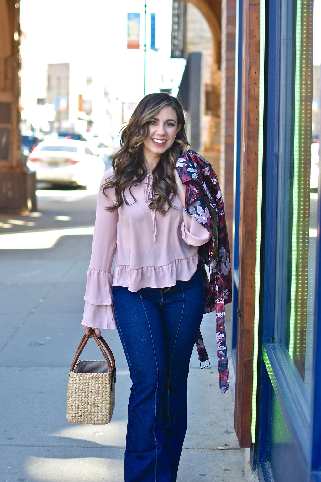 Lifestyle blogger Roxanne of Glass of glam wearing Modcloth flares, a Le Tote Jacket, Lulus blouse, and a straw bag - Le Tote Is Totes Amazing by popular Chicago style blogger Glass of Glam