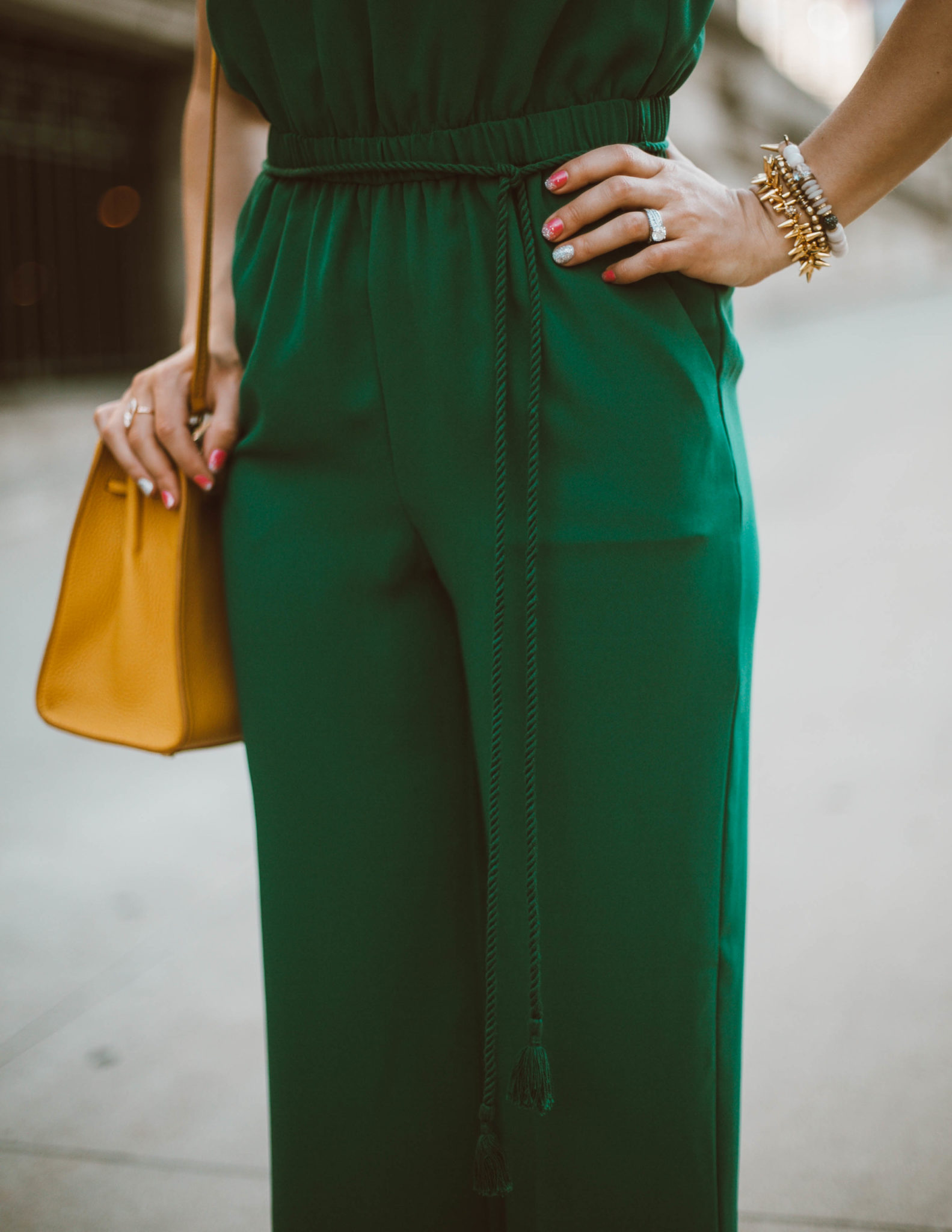 Green Jumpsuit & On Mondays We Link Up (#74) featured by popular Chicago style blogger Glass of Glam