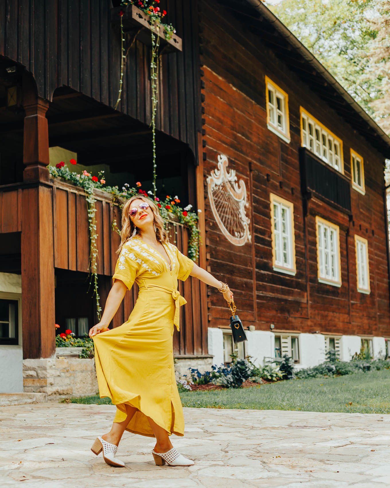 Chicwish yellow embroidered dress styled by popular Chicago fashion blogger, Glass of Glam