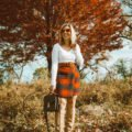 SheIn Winter Picks featured by top US fashion blog, Glass of Glam: image of a woman wearing a SheIn paid skirt, BP V Neck tee, Sam Edelman knee high boots, Halogen stretch belt, Chadwicks of Boston boyfriend blazer, Louis Vuitton bag and ASOS cat eye red sunglasses | Mini Skirts for Fall Under $50 & On Mondays We Link Up by popular Chicago fashion blog, Glass of Glam: image of a woman wearing a fall mini skirt.