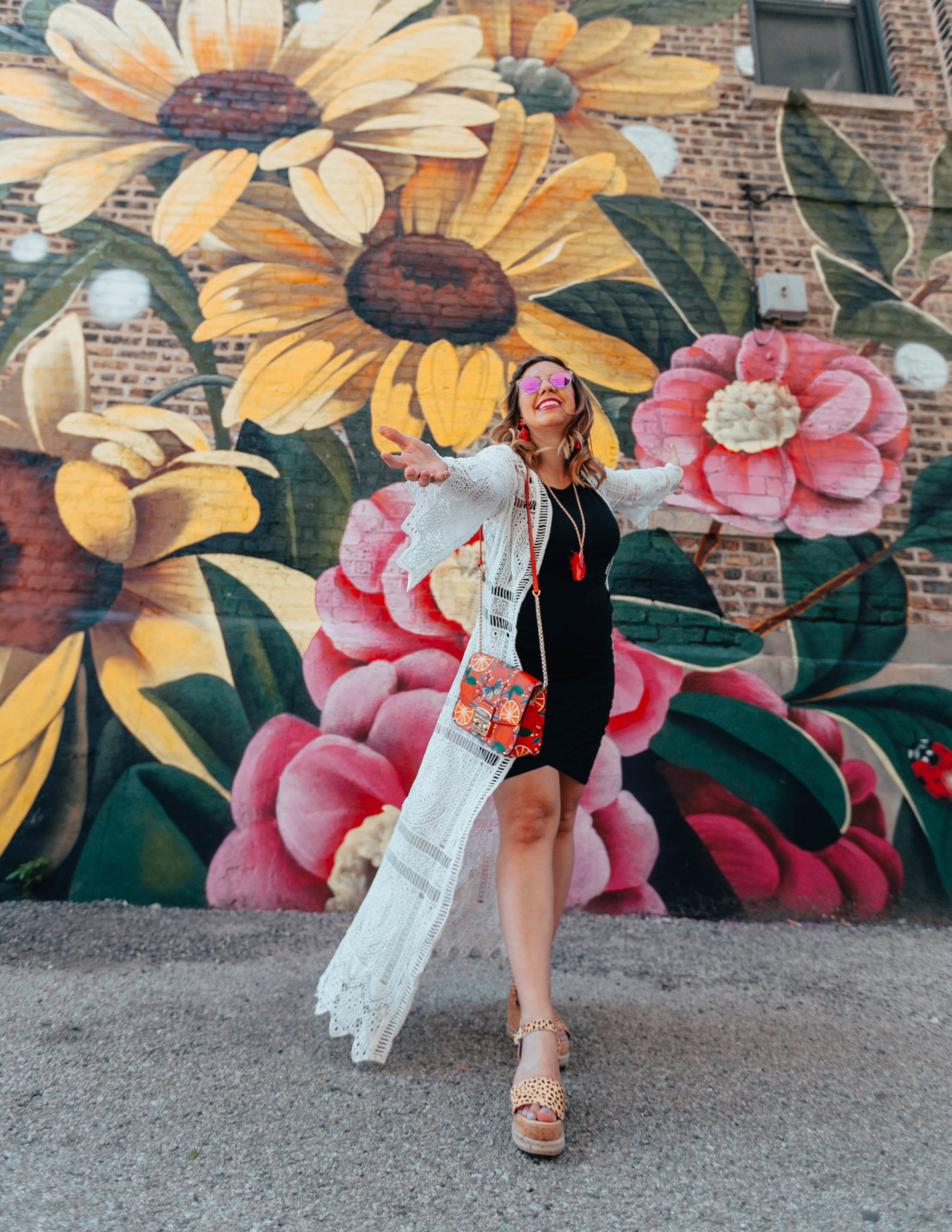 Summer kimonos featured by top US fashion blog, Glass of Glam: image of a woman wearing a Leith tank dress, Chicwish crochet kimono, Steve Madden leopard wedge espadrille sandals, Furla crossbody bag, Sugarfix earrings and necklace, and Warby Parker sunglasses