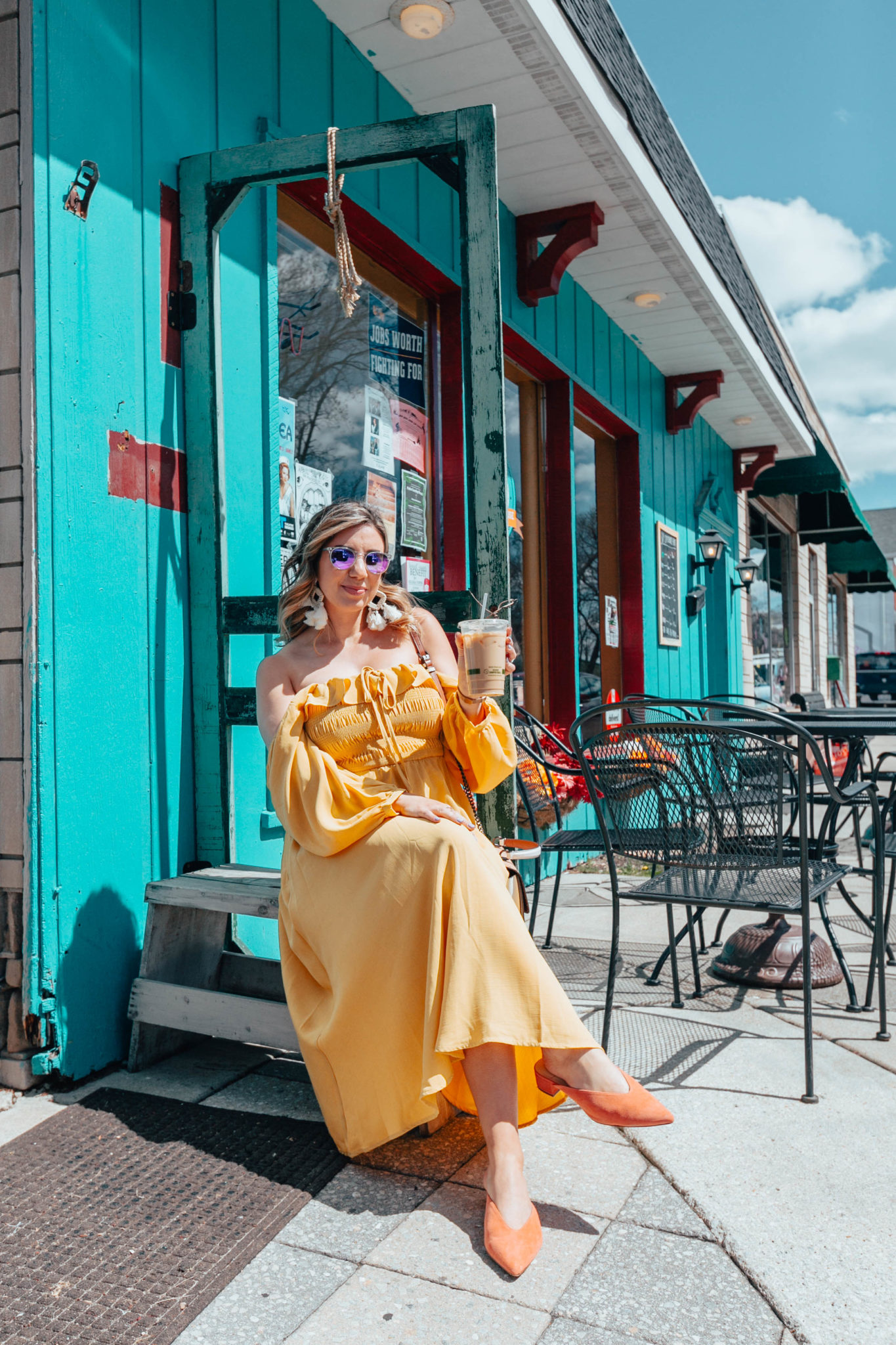 Spring colors look featured by top US fashion blog, Glass of Glam: image of a woman wearing a SheIn off the shoulder yellow dress, Sole Society orange mules, Warby Parker sunglasses, bohemian statement earrings, and a COACH shoulder bag
