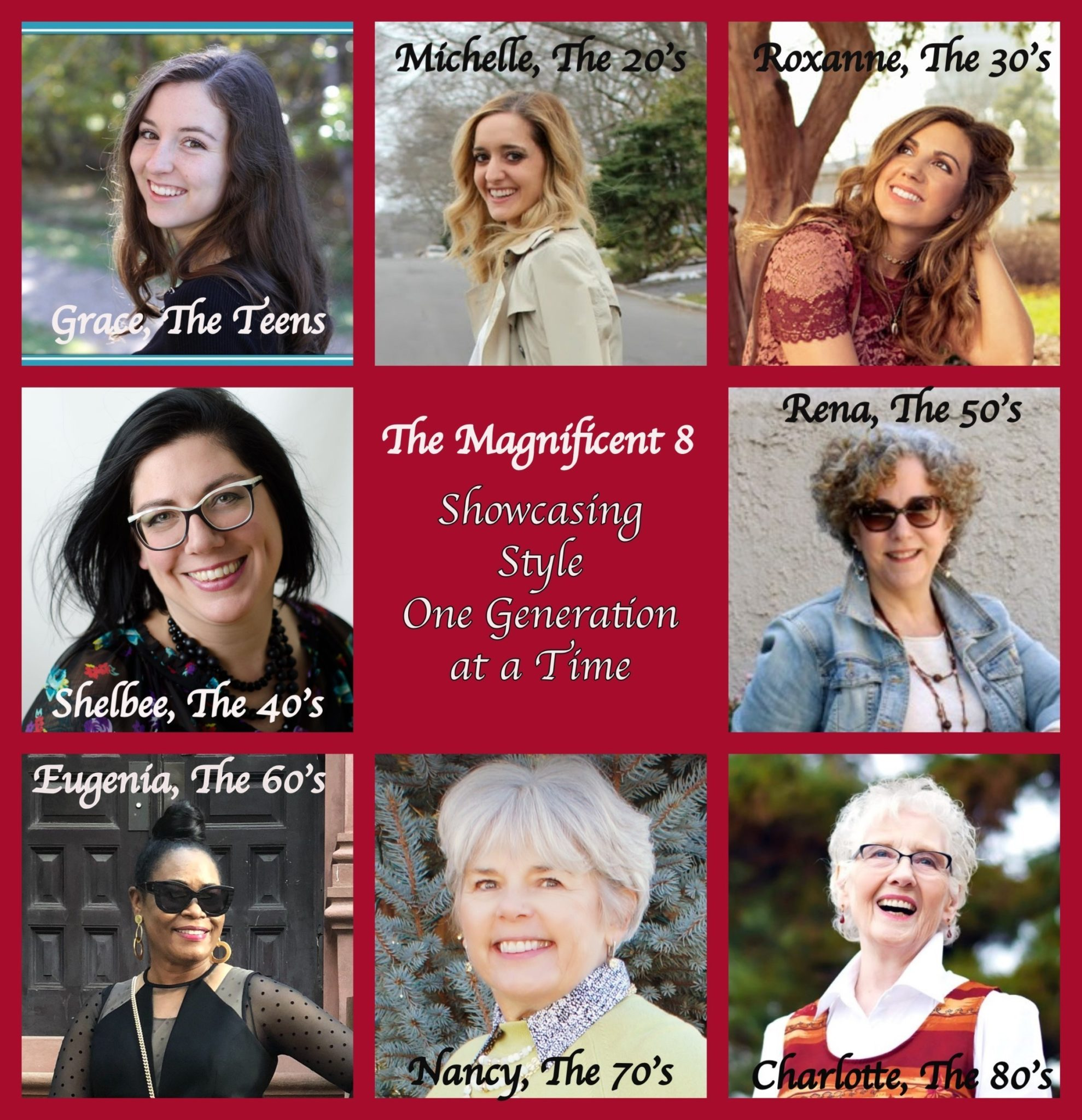 Little White Summer Dress & The Return of The Magnificent 8 by popular fashion blog, Glass of Glam: collage image of 8 women.