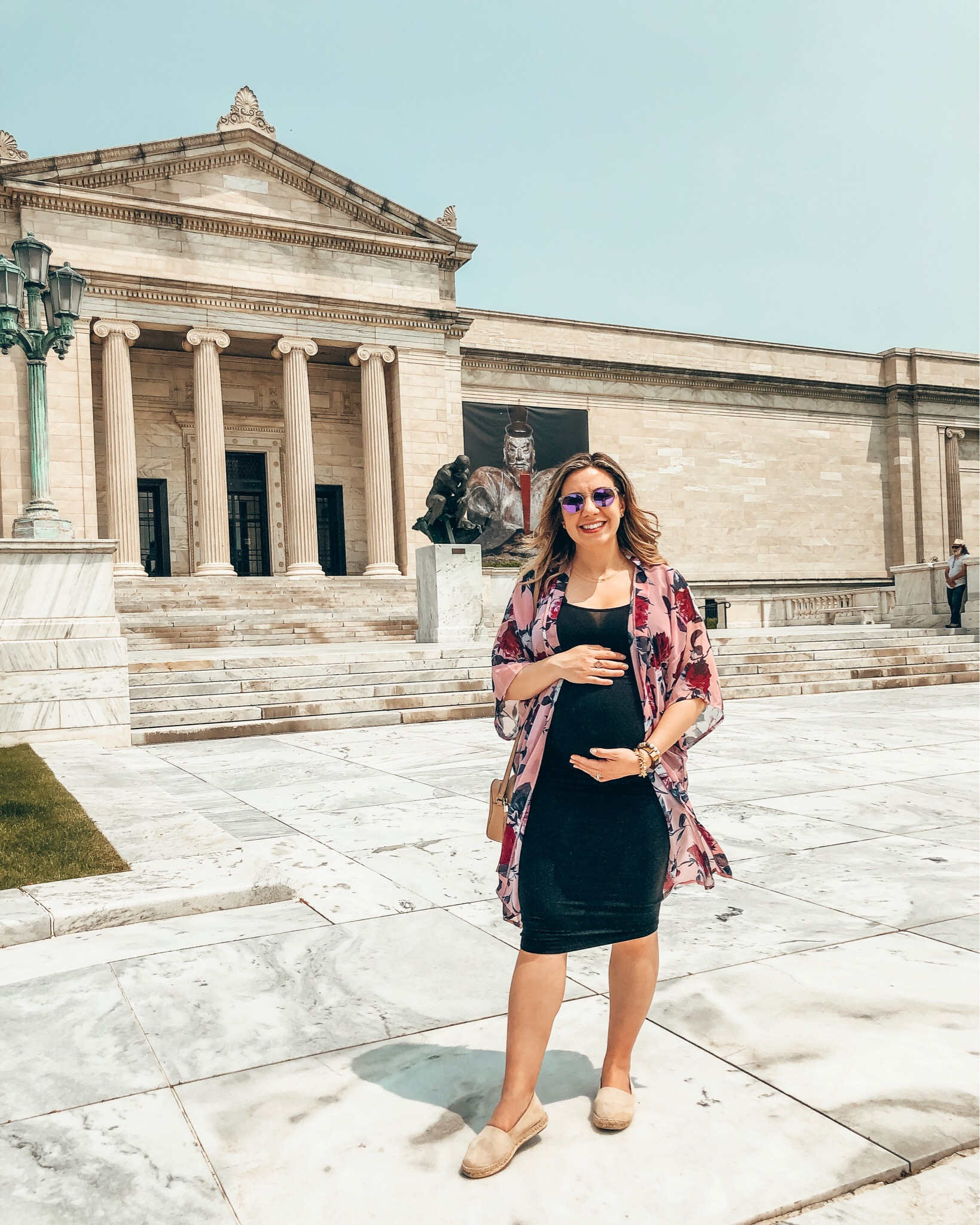 Summer maternity-friendly Shein clothing featured by top US fashion blog, Glass of Glam: image of a pregnant woman wearing an Ingrid & Isabel tank dress, SheIn floral kimono, Zappos espadrilles, and Warby Parker sunglasses.