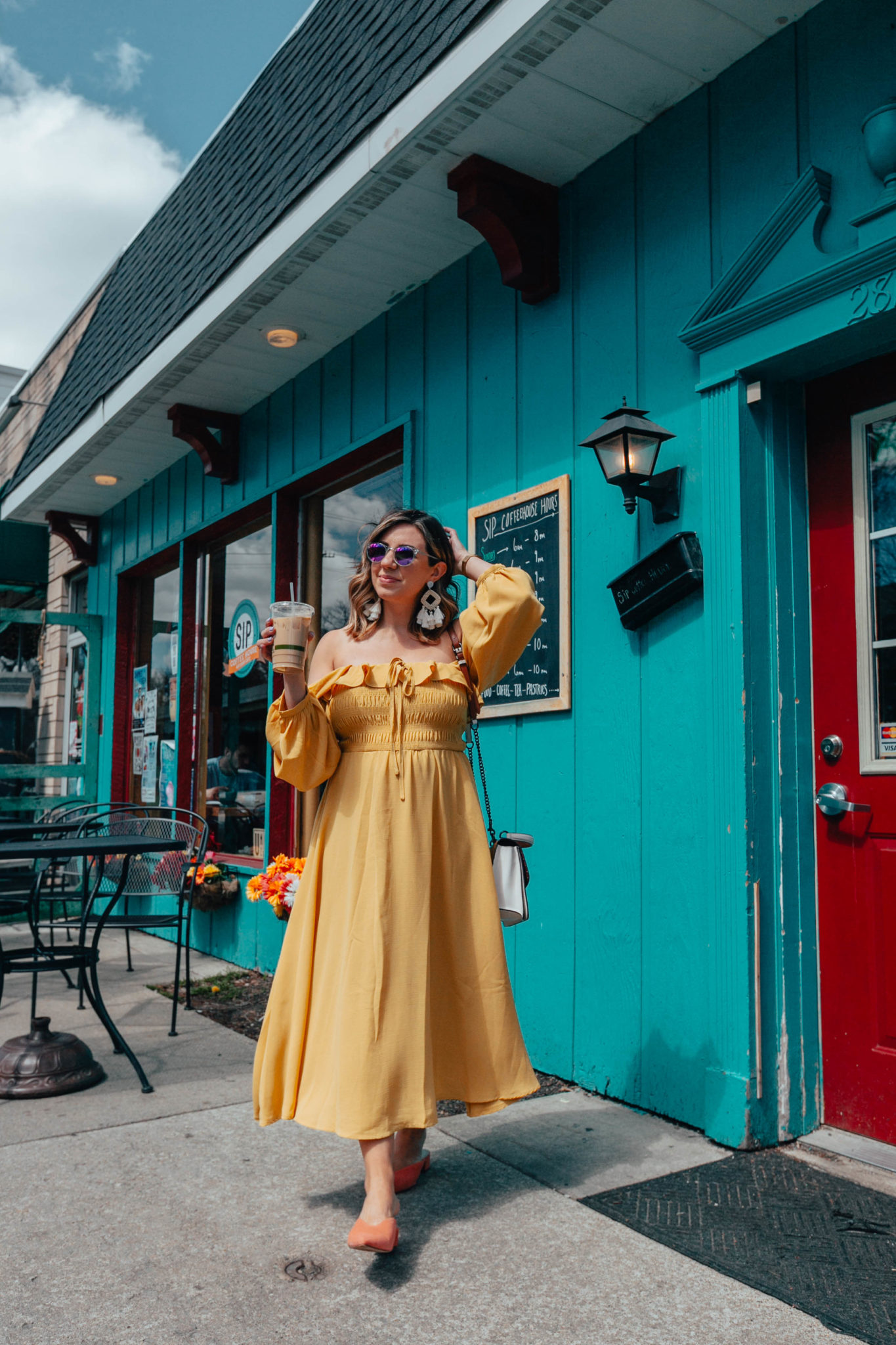 Summer maternity-friendly Shein clothing featured by top US fashion blog, Glass of Glam: image of a pregnant woman wearing a SheIn yellow midi dress