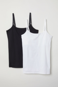 My Postpartum Outfit Game Plan & On Mondays We Link Up (#127) by popular Chicago fashion blog, Glass of Glam: image of H&M MAMA 2-pack Nursing Tank Tops.
