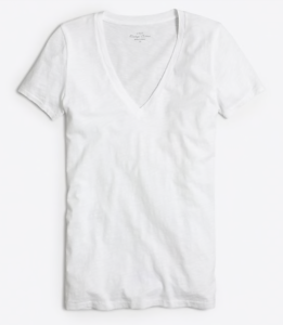 My Postpartum Outfit Game Plan & On Mondays We Link Up (#127) by popular Chicago fashion blog, Glass of Glam: image of soft white v-neck tee.