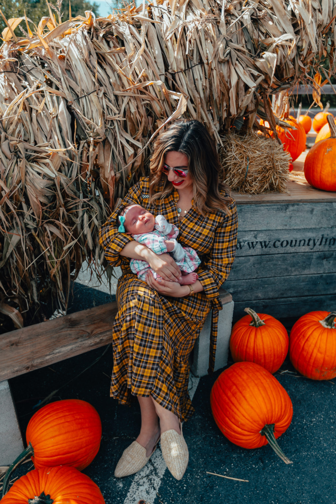 County Line Apple Orchard & On Mondays We Link Up (#135) by popular Chicago blog, Glass of Glam: image of a woman holding her daughter at the County Line Apple Orchard and wearing an Anthropologie Dalton Wrap Maxi Dress, Grande Cosmetics GrandeLIPS Plumping Liquid Lipstick, Semi-Matte, Warby Parker Haskell sunglasses, Steve Madden Mattis Textured Mules, and Gucci GG Supreme messenger bag and Carters Plaid Twill Dress.