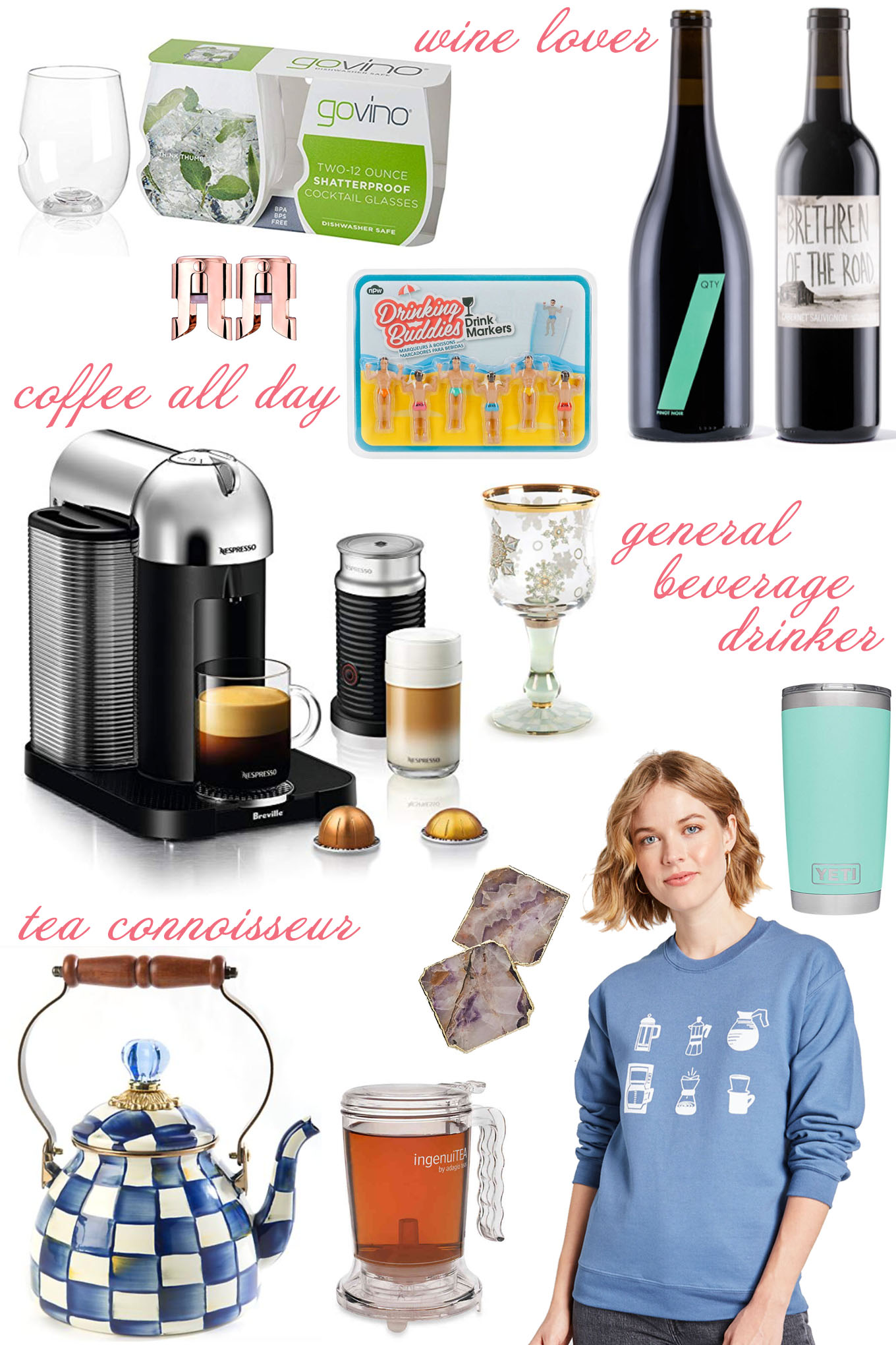 Gifts For Beverage Lovers by popular Chicago life and style blog, Glass of Glam: collage image of Amazon Govino Go Anywhere Dishwasher Safe Flexible Shatterproof Recyclable Wine Glasses, Amazon OWO Champagne Stopper, Target Beverage Marker, Winc wine, MacKenzie Childs Snowfall Wine Glass, Amazon Breville Vertuo Coffee and Espresso Machine, Anthropologie Agate Coaster, MacKenzie Childs Royal Check Tea Kettle, Bed Bath and Beyond adagio teas Ingenuitea 16-Ounce Teapot, Amazon YETI Rambler 20 oz Stainless Steel Vacuum Insulated Tumbler w/MagSlider Lid, and Mod Cloth Perfect Brew Graphic Sweatshirt.