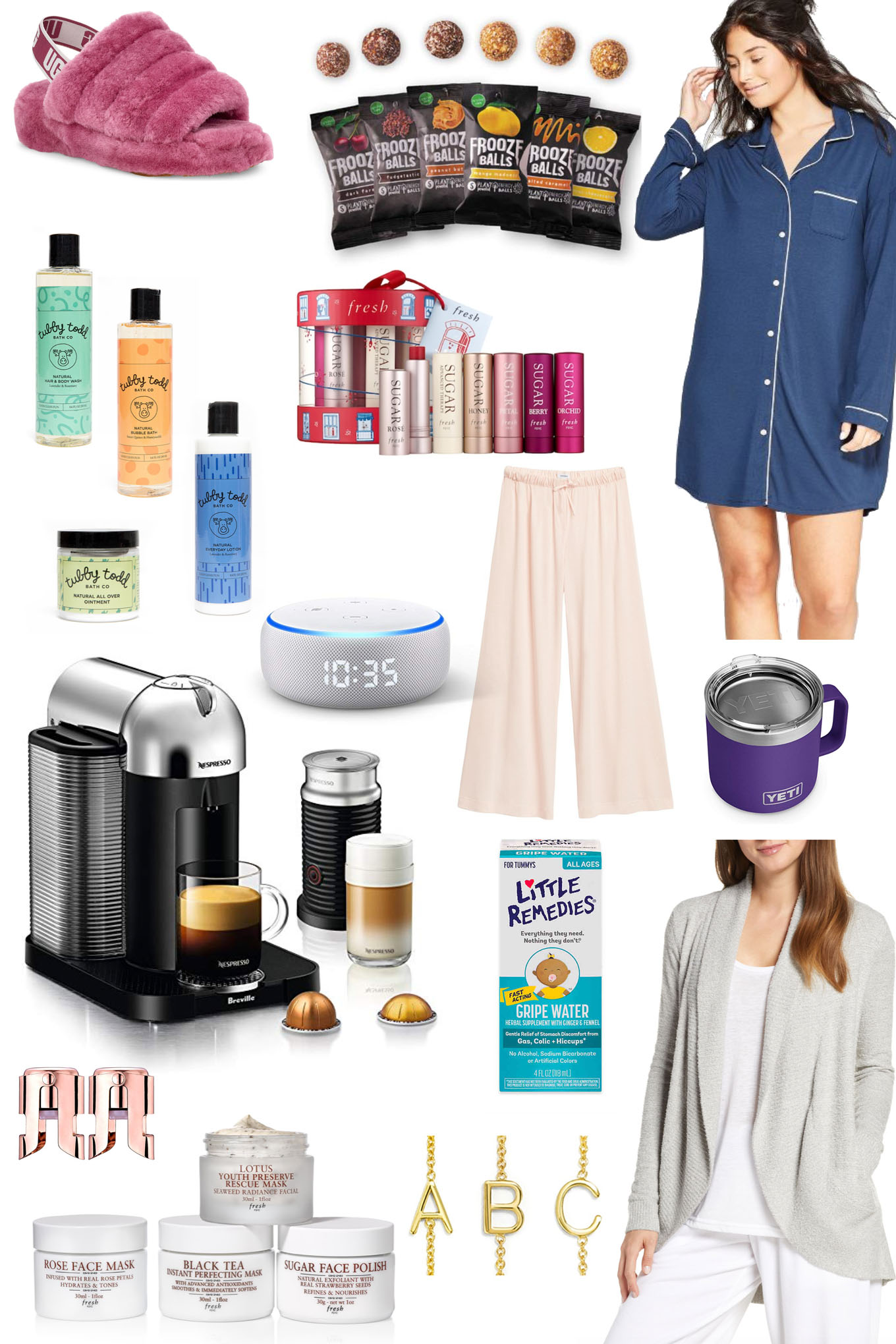 Amazing Gifts for New Moms by popular Chicago life and style blog, Glass of Glam: collage image of lounge pants, fuzzyslippers, Tubby Todd products, espresso maker, echo dot, cardigan, pajamas, yeti tumbler, initial bracelets, face cream, and lip products.