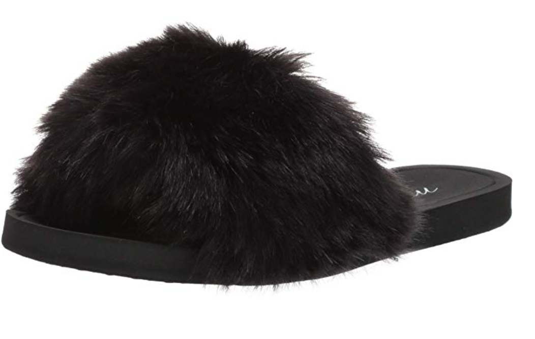 My Amazon Winter Fashion Favorites by popular Chicago fashion blog, Glass of Glam: image of Amazon Mae Women's Marabou One-Strap Slipper.
