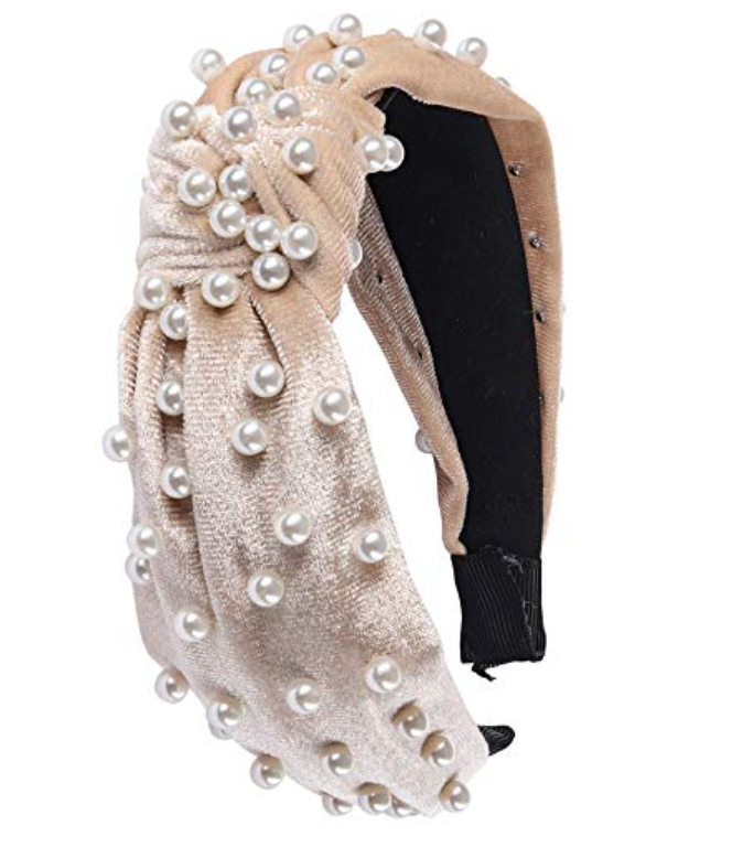 My Amazon Winter Fashion Favorites by popular Chicago fashion blog, Glass of Glam: image of Amazon Somewhere Haute Velvet Top-knot Pearl Embellished Headband.